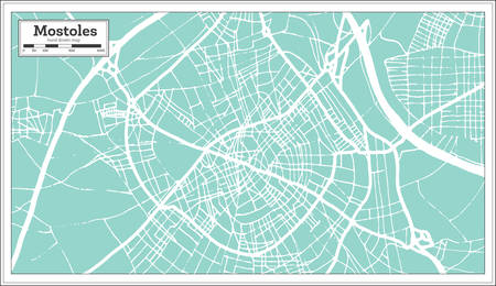 Mostoles Spain City Map in Retro Style. Outline Map. Vector Illustration.