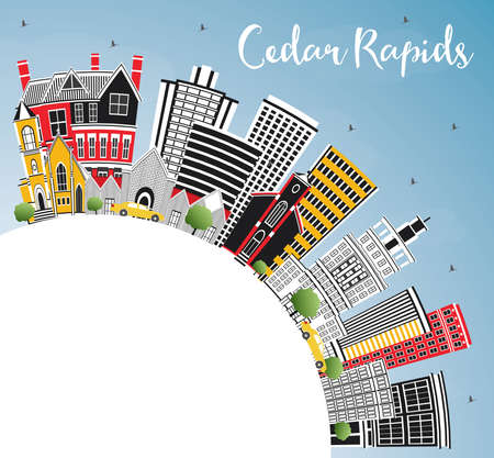 Cedar Rapids Iowa City Skyline with Color Buildings, Blue Sky and Copy Space. Vector Illustration. Business Travel and Tourism Illustration with Historic Architecture. 向量圖像