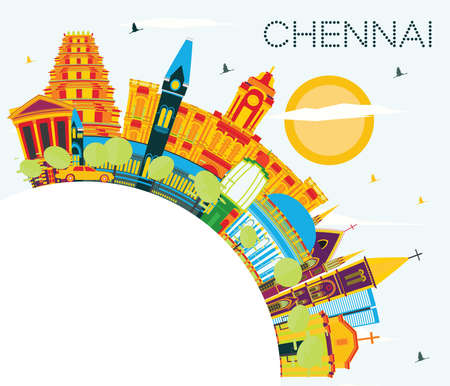 Chennai India Skyline with Color Landmarks, Blue Sky and Copy Space. Vector Illustration. Business Travel and Tourism Concept with Historic Architecture. Chennai Cityscape with Landmarks.