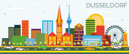 Dusseldorf Skyline with Color Buildings and Blue Sky. Vector Illustration. Business Travel and Tourism Concept with Historic Architecture. Dusseldorf Germany Cityscape with Landmarks.