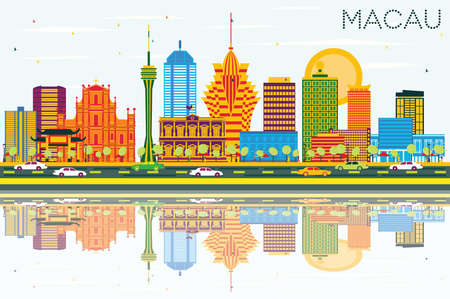 Macau China City Skyline with Color Buildings, Blue Sky and Reflections. Vector Illustration. Business Travel and Tourism Concept with Modern Architecture. Macau Cityscape with Landmarks.