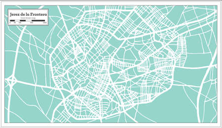 Jerez de la Frontera Spain City Map in Retro Style. Outline Map. Vector Illustration. Illustration