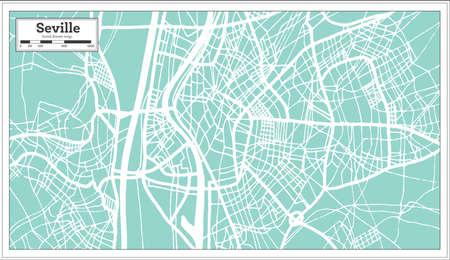 Seville Spain City Map in Retro Style. Outline Map. Vector Illustration. Иллюстрация