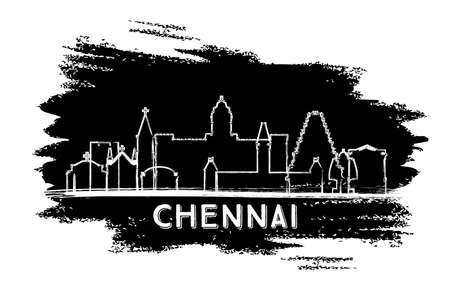 Chennai India City Skyline Silhouette. Hand Drawn Sketch. Business Travel and Tourism Concept with Historic Architecture. Vector Illustration. Chennai Cityscape with Landmarks. Vector Illustration
