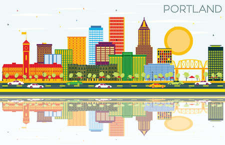 Portland Oregon City Skyline with Color Buildings, Blue Sky and Reflections. Vector Illustration. Business Travel and Tourism Concept with Modern Architecture. Portland Cityscape with Landmarks.