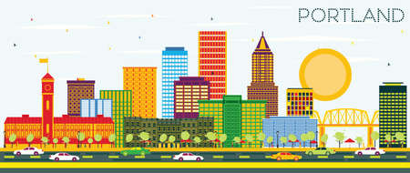 Portland Oregon City Skyline with Color Buildings and Blue Sky. Vector Illustration. Business Travel and Tourism Concept with Modern Architecture. Portland Cityscape with Landmarks. Illustration