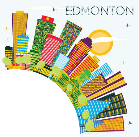 Edmonton City Skyline with Color Buildings, Blue Sky and Copy Space. Vector Illustration. Business Travel and Tourism Concept with Modern Buildings. Edmonton Canada Cityscape with Landmarks.