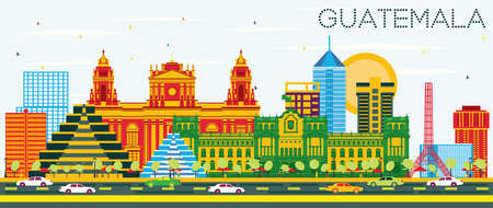 Guatemala Skyline with Color Buildings and Blue Sky. Vector Illustration. Business Travel and Tourism Concept with Modern Architecture. Guatemala Cityscape with Landmarks. Vetores