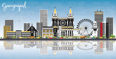 Guayaquil Ecuador City Skyline with Color Buildings, Blue Sky and Reflections. Vector Illustration. Business Travel and Tourism Concept with Historic Architecture. Guayaquil Cityscape with Landmarks.