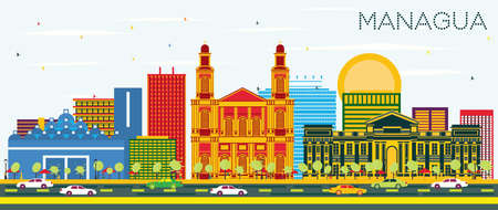 Managua Nicaragua Skyline with Color Buildings and Blue Sky. Vector Illustration. Business Travel and Tourism Concept with Modern Architecture. Managua Cityscape with Landmarks. Illustration