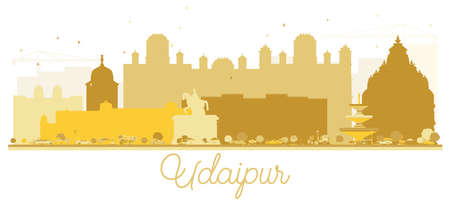 Udaipur India City skyline Golden silhouette. Vector illustration. Simple flat concept for tourism presentation, banner, placard or web site. Udaipur Cityscape with landmarks. Stock Vector - 104219069