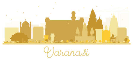 Varanasi City skyline Golden silhouette. Vector illustration. Simple flat concept for tourism presentation, banner, placard or web site. Varanasi Cityscape with landmarks. Stock Vector - 104219071