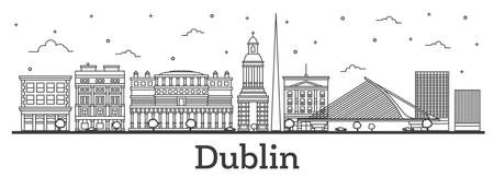 Outline Dublin Ireland City Skyline with Historic Buildings Isolated on White. Vector Illustration. Dublin Cityscape with Landmarks. Vettoriali