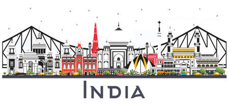 India City Skyline with Color Buildings Isolated on White. Delhi. Hyderabad. Kolkata. Vector Illustration. Travel and Tourism Concept with Historic Architecture. India Cityscape with Landmarks.