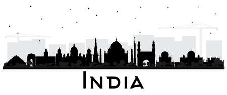 India City Skyline Silhouette with Black Buildings Isolated on White. Delhi. Hyderabad. Kolkata. Vector Illustration. Travel and Tourism Concept with Historic Architecture. India Cityscape with Landmarks. Illustration