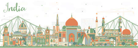 India City Skyline with Color Buildings. Delhi. Hyderabad. Kolkata. Vector Illustration. Travel and Tourism Concept with Historic Architecture. India Cityscape with Landmarks. Ilustração