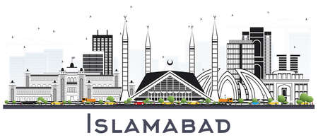 Islamabad Pakistan City Skyline with Gray Buildings Isolated on White. Vector Illustration. Business Travel and Tourism Concept with Historic Architecture. Islamabad Cityscape with Landmarks. Ilustrace