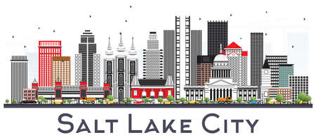 Salt Lake City Utah City Skyline with Gray Buildings Isolated on White. Vector Illustration. Business Travel and Tourism Concept with Historic Architecture. Salt Lake City USA cityscape with Landmarks.