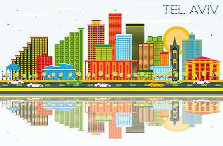 Skyline di Tel Aviv Israele città con edifici di colore, cielo blu e riflessi. Illustrazione vettoriale. Viaggi d'affari e concetto di turismo con architettura moderna. Paesaggio urbano di Tel Aviv con punti di riferimento.