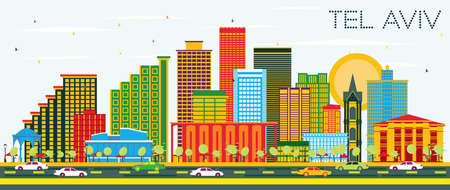 Tel Aviv Israel City Skyline with Color Buildings and Blue Sky. Vector Illustration. Business Travel and Tourism Concept with Modern Architecture. Tel Aviv Cityscape with Landmarks.