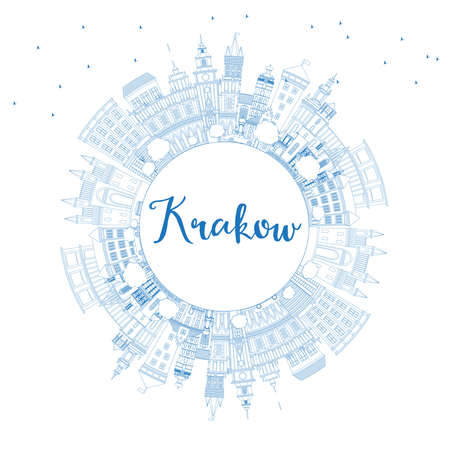 Outline Krakow Poland City Skyline with Blue Buildings and Copy Space. Vector Illustration. Business Travel and Tourism Concept with Historic Architecture. Krakow Cityscape with Landmarks. Ilustração
