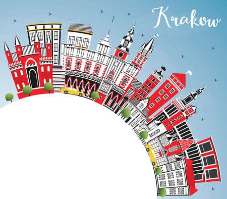 Skyline de la ville de Cracovie Pologne avec des bâtiments de couleur, ciel bleu et espace de copie. Illustration vectorielle. Concept de voyages d'affaires et de tourisme avec une architecture historique. Paysage urbain de Cracovie avec points de repère.