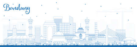 Outline Bandung Indonesia City Skyline with Blue Buildings. Vector Illustration. Business Travel and Tourism Concept with Historic Architecture. Bandung Cityscape with Landmarks.