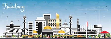 Bandung Indonesia City Skyline with Gray Buildings and Blue Sky. Vector Illustration. Business Travel and Tourism Concept with Historic Architecture. Bandung Cityscape with Landmarks.