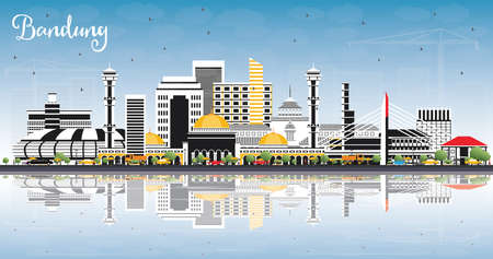 Bandung Indonesia City Skyline with Gray Buildings, Blue Sky and Reflections. Vector Illustration. Business Travel and Tourism Concept with Historic Architecture. Bandung Cityscape with Landmarks.