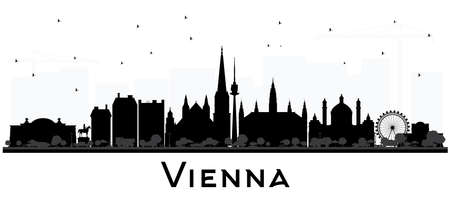 Vienna Austria City Skyline Silhouette with Black Buildings Isolated on White. Vector Illustration. Business Travel and Tourism Concept with Historic Architecture. Vienna Cityscape with Landmarks.