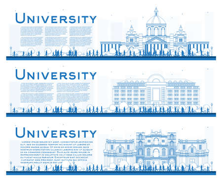 Outline Set of University Campus Study Banners. Vector Illustration. Students Go to the Main Building of University. Banner with Copy Space. Illustration