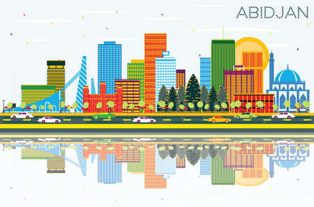 Abidjan Ivory Coast City Skyline with Color Buildings, Blue Sky and Reflections. Vector Illustration. Business Travel and Tourism Concept with Modern Architecture. Abidjan Cityscape with Landmarks.