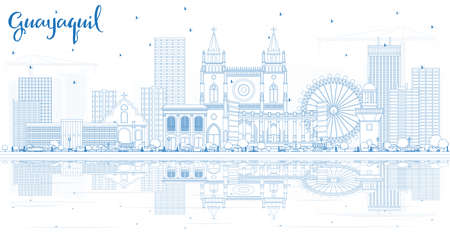 Outline Guayaquil Ecuador City Skyline with Blue Buildings and Reflections. Vector Illustration. Business Travel and Tourism Concept with Historic Architecture. Guayaquil Cityscape with Landmarks. Illustration