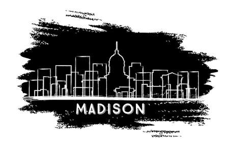 Madison Wisconsin City Skyline Silhouette. Hand Drawn Sketch. Business Travel and Tourism Concept with Historic Architecture. Vector Illustration. Madison USA Cityscape with Landmarks.  イラスト・ベクター素材