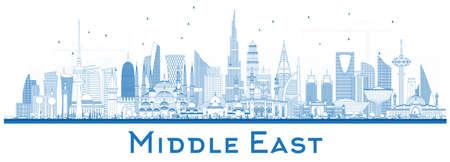 Esquema del horizonte de la ciudad de Oriente Medio con edificios azules aislados en blanco. Ilustración de vector. Dubai, Kuwait, Abu Dhabi, Doha, Estambul, Jeddah. Concepto de viajes y turismo con arquitectura moderna. Paisaje urbano de Oriente Medio con hitos.