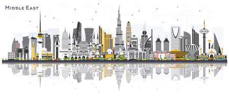 Horizonte de la ciudad de Oriente Medio con edificios de color y reflejos aislados en blanco. Ilustración de vector. Dubai, Kuwait, Abu Dhabi, Doha, Jeddah. Concepto de viajes y turismo con arquitectura moderna.