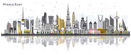 Middle East City Skyline with Color Buildings and Reflections Isolated on White. Vector Illustration. Dubai, Kuwait, Abu Dhabi, Doha, Jeddah. Travel and Tourism Concept with Modern Architecture. Illustration