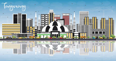 Tangerang Indonesia City Skyline with Gray Buildings, Blue Sky and Reflections. Vector Illustration. Business Travel and Tourism Concept with Modern Architecture. Tangerang Cityscape with Landmarks.