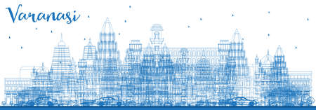 Outline Varanasi India Skyline with Blue Buildings. Vector Illustration. Business Travel and Tourism Concept with Historic Architecture. Varanasi Cityscape with Landmarks.