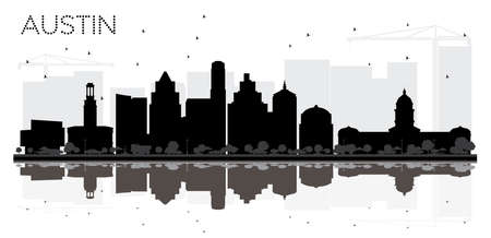 Austin Texas City skyline black and white silhouette with Reflections. Vector illustration. Simple flat concept for tourism presentation, banner, placard or web site. Austin Cityscape with landmarks.