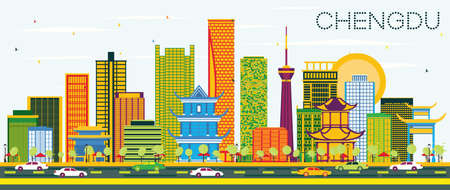 Chengdu China Skyline with Color Buildings and Blue Sky. Vector Illustration. Business Travel and Tourism Concept with Modern Architecture. Chengdu Cityscape with Landmarks. Vettoriali