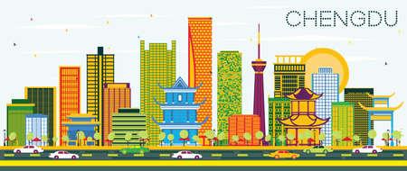 Skyline de Chengdu Chine avec bâtiments de couleur et ciel bleu. Illustration vectorielle. Concept de voyage d'affaires et de tourisme avec une architecture moderne. Paysage urbain de Chengdu avec points de repère.