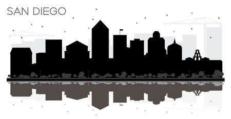 9169f42a4b92 San Diego City skyline black and white silhouette with Reflections. Vector  illustration. Simple flat