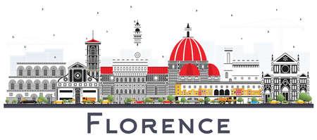 Skyline der Stadt Florenz Italien mit den auf Weiß isolierten Farbgebäuden. Vektor-Illustration. Geschäftsreise- und Tourismuskonzept mit moderner Architektur. Florenz Stadtbild mit Sehenswürdigkeiten.