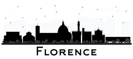 Siluetta dell'orizzonte della città di Firenze Italia con edifici neri isolati su bianco. Illustrazione di vettore. Viaggi d'affari e concetto di turismo con architettura moderna. Paesaggio urbano di Firenze con punti di riferimento. Vettoriali