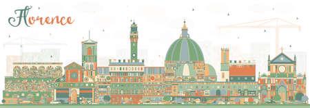 Orizzonte della città di Firenze Italia con edifici di colore. Illustrazione vettoriale. Viaggi d'affari e turismo concetto con architettura moderna. Paesaggio urbano di Firenze con punti di riferimento.