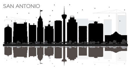 San Antonio Texas City skyline black and white silhouette with Reflections. Vector illustration. Simple flat concept for tourism presentation, banner, placard or web site. San Antonio Cityscape with landmarks.