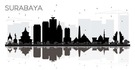 Surabaya Indonesia City skyline black and white silhouette with Reflections. Vector illustration. Simple flat concept for tourism presentation, banner, placard or web site. Surabaya Cityscape with landmarks.