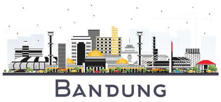 Bandung Indonesia City Skyline with Gray Buildings Isolated on White. Vector Illustration. Business Travel and Tourism Concept with Historic Architecture. Bandung Cityscape with Landmarks. Vettoriali