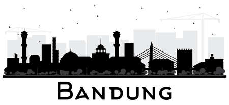 Bandung Indonesia City Skyline Silhouette with Black Buildings Isolated on White. Vector Illustration. Business Travel and Tourism Concept with Historic Architecture. Bandung Cityscape with Landmarks.